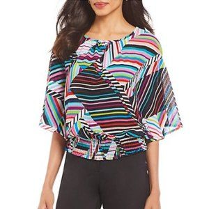 NEW Dillard's Investment Wavy Stripes Blouse